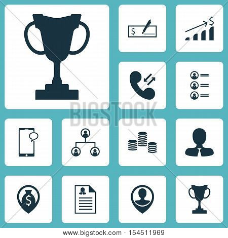 Set Of Management Icons On Cellular Data, Bank Payment And Manager Topics. Editable Vector Illustrat
