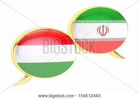 Speech bubbles Hungarian-Iranian translation concept. 3D rendering