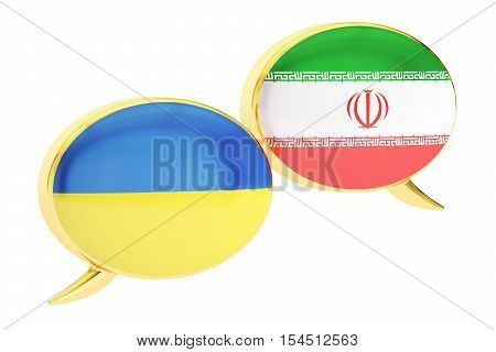 Speech bubbles Ukrainian-Iranian translation concept. 3D rendering