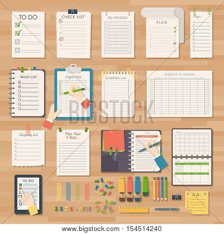 Vector notebook agenda business note. Meeting notebook plan work reminder agenda business note. Schedule calendar planner organizer agenda business note appointment concept.