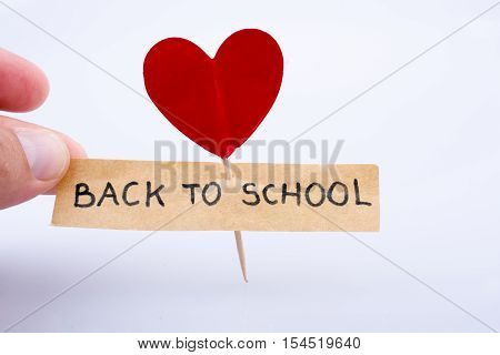 Back to School title and a red heart icon