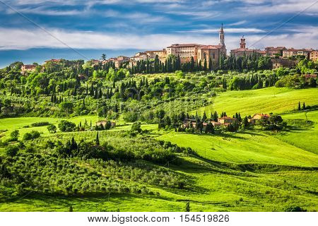 Town of Pienza at sunset Italy in summer