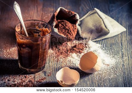 Taste of childhood egg yolk with sugar and cocoa