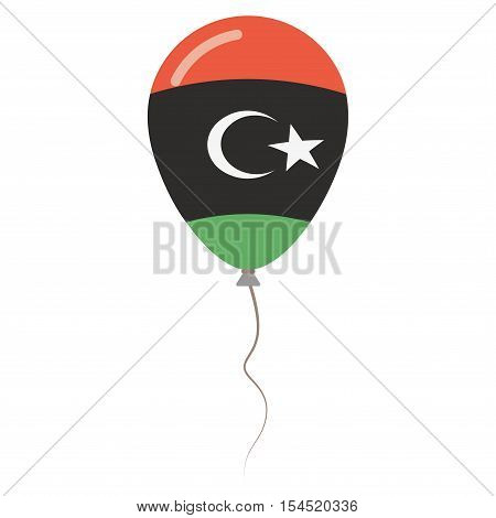 Libya National Colors Isolated Balloon On White Background. Independence Day Patriotic Poster. Flat