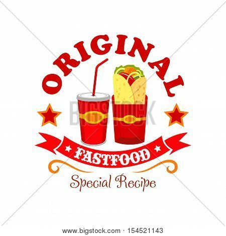 Burrito fast food emblem. Mexican bread wrap snack with meat and vegetables filling. Soda coke drink, burrito tortilla label ribbon for fast food restaurant menu card, signboard sticker design