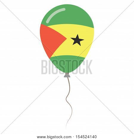 Sao Tome And Principe National Colors Isolated Balloon On White Background. Independence Day Patriot