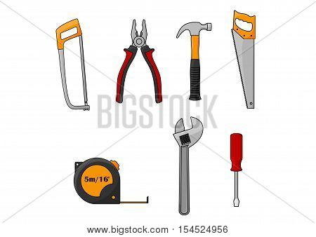 Repair and construction work tools isolated icons. Vector elements of home fix working instruments fretsaw, pliers, hammer nail puller, hand saw, measure tape, spanner, screwdriver