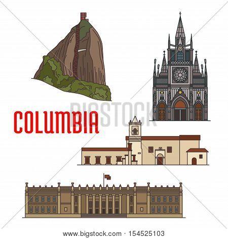 Architecture tourist attractions of Colombia. El Penon de Guatape Rock, Iglesia de la Merced church, Las Lajas Sanctuary, Colombian Capitol. Historic buildings vector icons