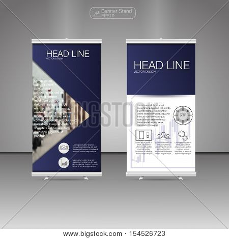 Roll Up Banner Stand template and info graphics banner stand design. Vector.