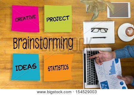 Brainstorming People Working  Group Business People Brainstorm Meeting