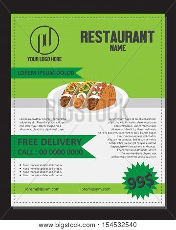 Food Menu Flayer Template Or Banner for publishing, print and presentation. This design can be used as a poster or brochure promotional products