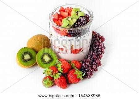 Fruits in Yogurt Healthy Food Dairy Food Natural Food Diet Food Clean Food
