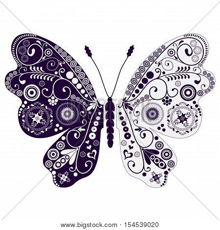 Vintage two-tone butterfly with circles and swirls. Isolated. Vector