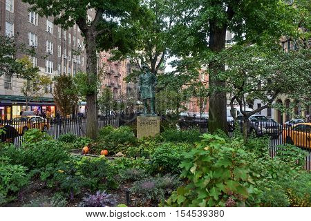 New York City - October 31, 2016: Bronze sculpture of General Philip Sheridan by Joseph Pollia located in Christopher Park in Manhattan New York. The statue was installed in 1936.