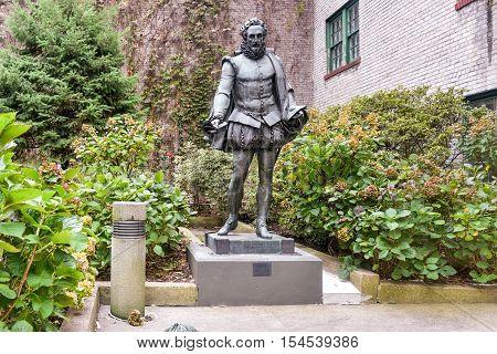 New York City - October 31, 2016: Miguel de Cervantes Statue in Willy's Garden near New York University in the Greenwich Village neighborhood of Manhattan New York City.