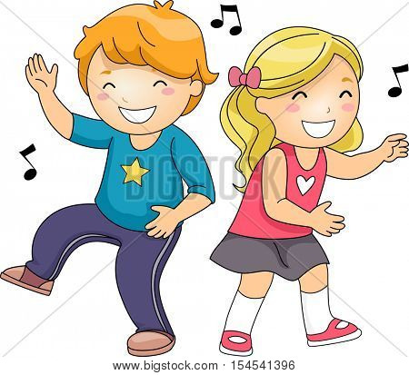 Illustration of a Cute Pair of Little Kids Grinning While Dancing Energetically
