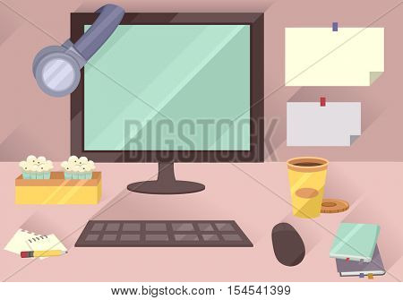 Illustration of a Typical Office Workstation Featuring a Computer Set, Assortment of Snacks, Sticky Notes, and Notepads