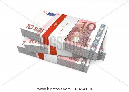 Three Packets Of 10 Euro Notes With Bank Wrapper