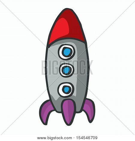 Illustration of cartoon rocket kids t-shirt design vector art