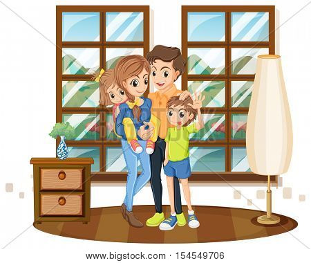 Family members in the house illustration