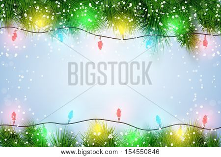 Christmas background with Garland Lights Decorations and spruce fir tree and snow. Winter Holiday xmas mockup and backdrop. Vector Illustration.