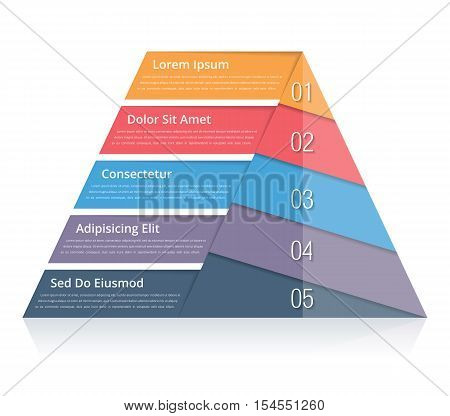 Pyramid chart with five elements with numbers and text, pyramid infographic template, pyramid diagram for presentations, vector eps10 illustration