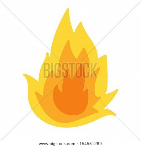 Fire flame hot burn vector icon. Warm danger fire flame and cooking yellow bonfire. Light blazing campfire ignite fire flame design and detail fireplace passion sign.