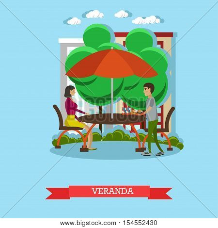 People having lunch on veranda. Vector illustration in flat style design. Street cafe concept poster.