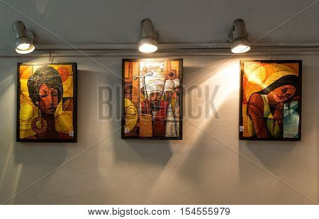 Addis Ababa Ethiopia - January 23 2016: Traditional Ethiopian paintings in the hall of an hotel