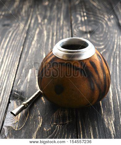 Yerba Mate Tea In A Wooden Mate Calabash