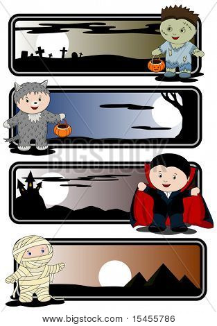 Halloween banners - zombie, mummy, werewolf and vampire