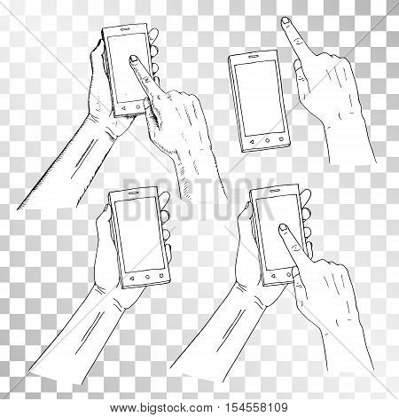 Drawn hand holding phone. Finger on phone pressing on screen. Retro set of sketches isolated. Vintage style. Doodle linear graphic design. Black and white image. Vector illustration of electronics.