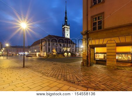 Night view on the town hall and main square of the old town of Olomouc Czech Republic.