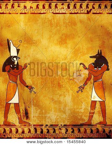 Pared con imágenes de dioses egipcios - Anubis y Horus