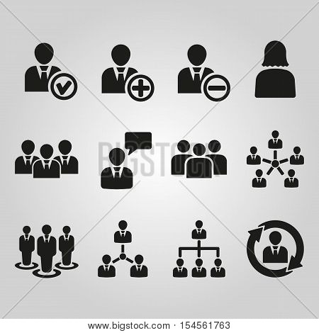 The management icon, set of 12 icons. Team and group, teamwork, people, alliance symbol. UI. Web. Logo. Sign. Flat design. App. Stock vector