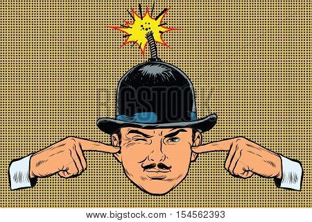 Head bomb, the concept of a terrorist and spy, pop art retro vector. Hands covering her ears, a loud explosion