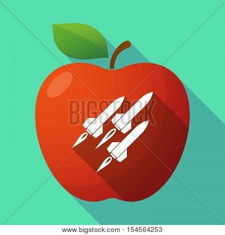 Long Shadow Apple Fruit Icon With Missiles