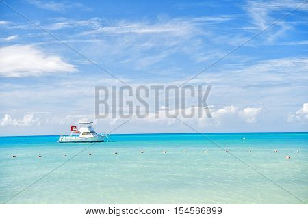 Attractive Bright View Of Exotic Colorful Beautiful Marine Beach With Boat On Blue Water