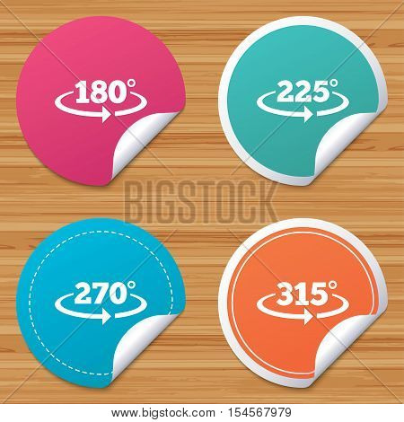 Round stickers or website banners. Angle 180-315 degrees icons. Geometry math signs symbols. Full complete rotation arrow. Circle badges with bended corner. Vector