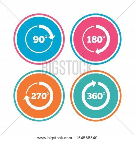 Angle 45-360 degrees circle icons. Geometry math signs symbols. Full complete rotation arrow. Colored circle buttons. Vector