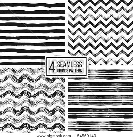 Set of grunge seamless pattern of black white stripes, waves, zigzag chevron, texture grunge monochrome lines, wavy and zig zag stripes, hand drawn vector pattern for textile, wallpaper, web, wrapping