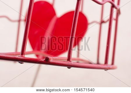 Heart Shape Icon In Metal Cage