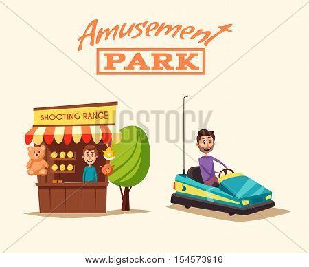 Amusement park theme. Cartoon vector illustration. Vintage style. Good emotions. Shooting range. Dodgem car. Happy people. Set of attractions. Funfair. Good emotions