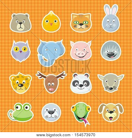 Collection of cute face animal. Animal head icon set. Cartoon animal head collection. Forest animal portrait flat icons set. Isolated object in flat design on white background. Vector illustration.
