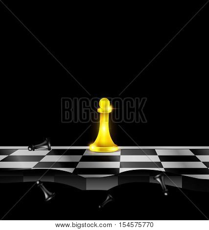 dark background and abstract chess board with golden and black figures