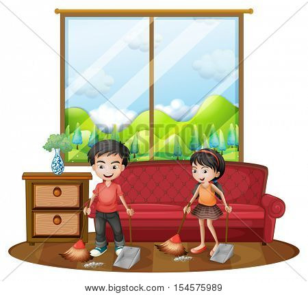Two kids sweeping the floor illustration