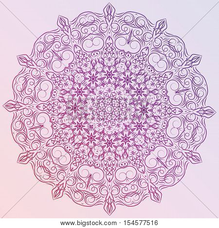 Hand-drawn christmas lace frame, mandala. Retro pattern can be used for wallpaper, pattern fills, web page background, surface textures - stock vector.