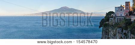 View from Sorrento town on Naples coast and Mount Vesuvius. Sea coastline panorama (Italy).