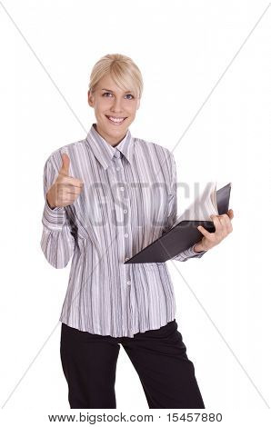 business woman shows success with thumb