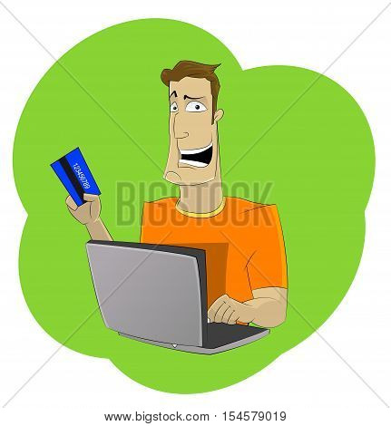 Cartoon man holding credit card and using laptop for online shopping or making online payment. Shopping online at home concept illustration. Vector